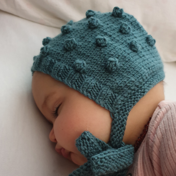 Bobble Popcorn Bonnet  - Teal