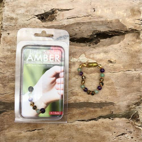 Amber Teething Amethyst & Adventurine Bracelet