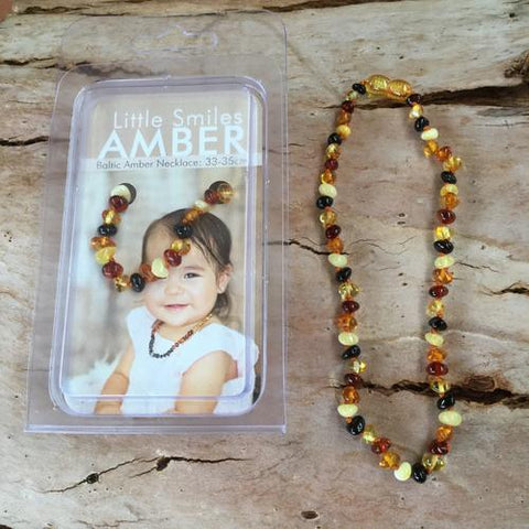 Amber Teething Multi Dark Necklace