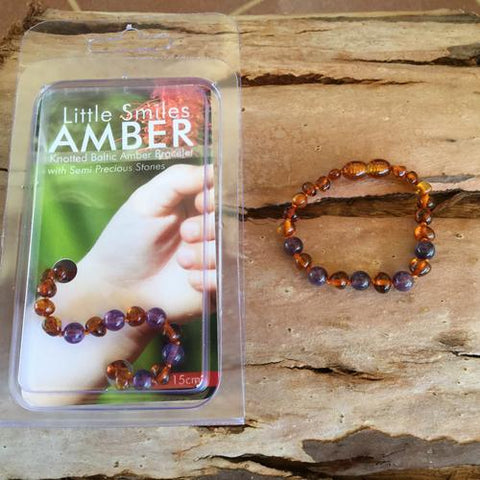 Amber Teething Brown Cognac & Purple Amethyst Bracelet