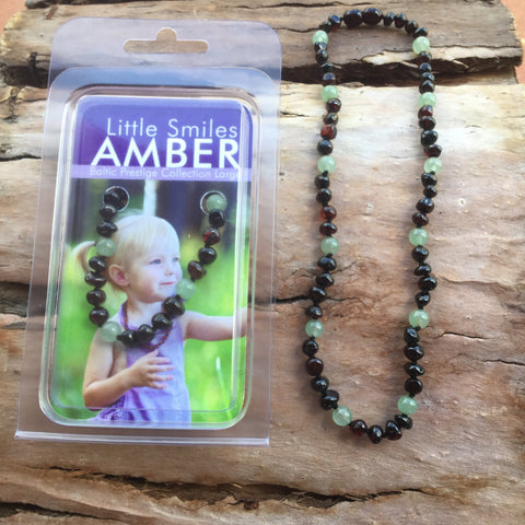 Amber Teething Dark Cherry & Aventurine Necklace
