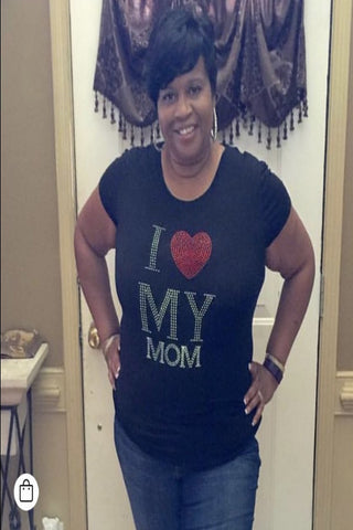I Love My Mom Rhinestone Tee