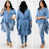 """Ruffled Down"" Curvy Diva Top"
