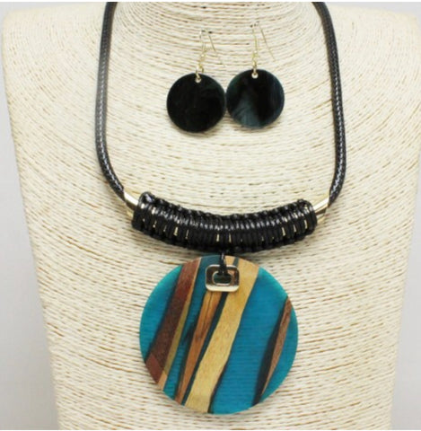 """Blue Fusion"" Wood Necklace Set"
