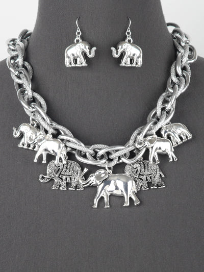 Trunks Up Elephant Necklace