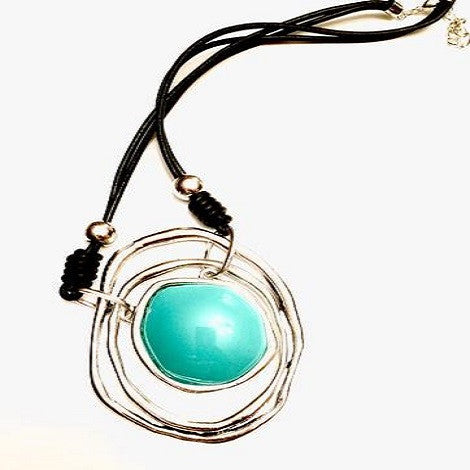 Modern Antique Silver Turquoise Necklace