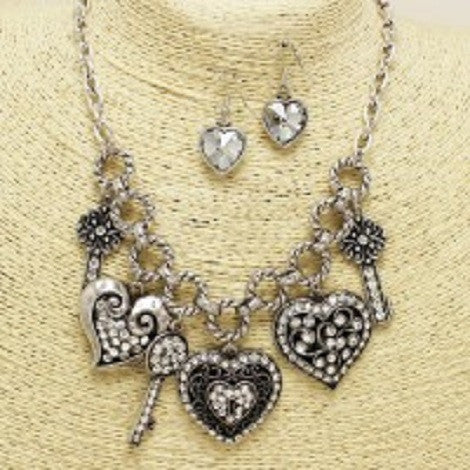 Rhinestone Charm Necklace - Treasures By Blondie Boutique