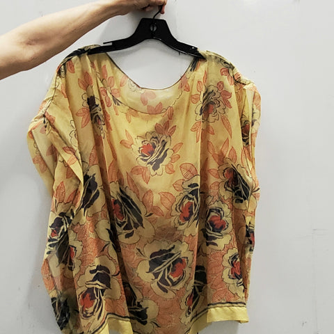 RARE Vintage 1920s 1930s Handmade Fagotted Seams Silk Floral Scarf Blouse
