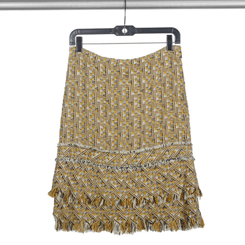 Designer Vintage 2000s TULEH Tiered Fringe Detail Tweed Skirt