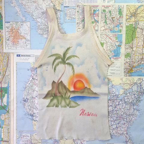 RARE AIRBRUSH GRAPHICS! Vintage 1970s 'HAWAII' Camisole Tank T-Shirt