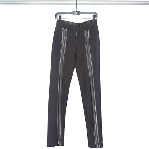RARE Designer Vintage 1990s TOM FORD GUCCI Full 2-Way Zip Leather Detail Pants