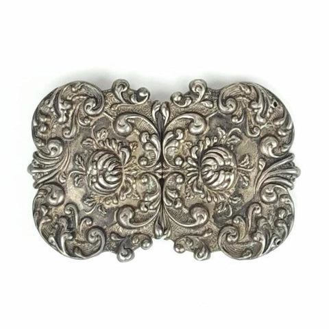 RARE Vintage 1800s Victorian Sterling Silver Filigree Belt Buckle (Stamped)