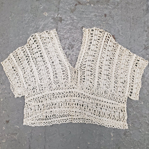 RARE Vintage 1920s 1930s Cap Sleeve Double V-Neck Crochet Pullover Bodice Top