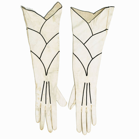 RARE Vintage 1920s Long Scallop Topstitched Calfskin Leather Evening Gloves