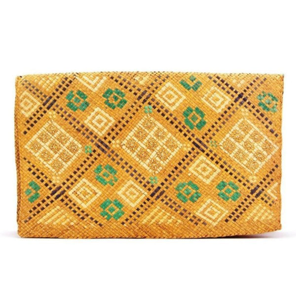 RARE Vintage 1930s 1940s Arts+Crats Woven Pattern Flat Straw Clutch Bag