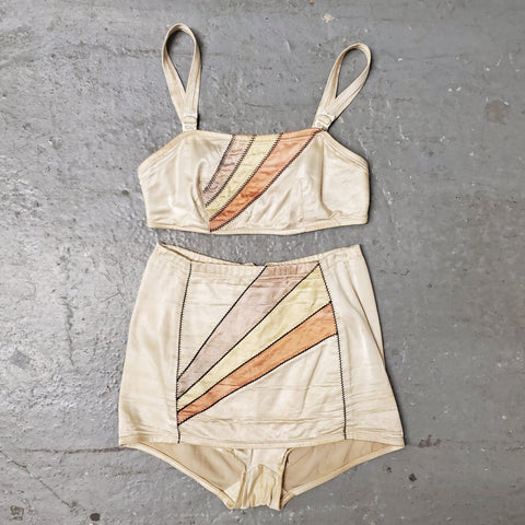 RARE Vintage 1930s 1940s JANTZEN Color Blocked Applique Two Piece Satin Swimsuit