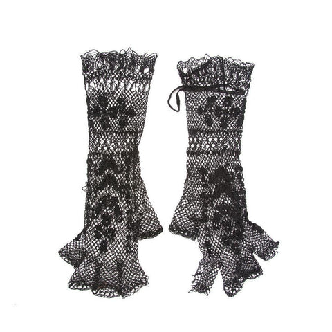 RARE Vintage 1930s NOS Re-Embroidered Fishnet Lace Fingerless Gloves