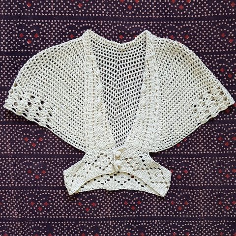 RARE Vintage 1940s Handmade Cape Sleeve Belt Waist Cotton Crochet Sweater