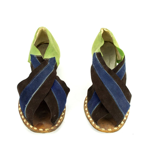 RARE Vintage 1940s Metallic + Suede Layered Upper Open Toe Wedge Sandals Shoes