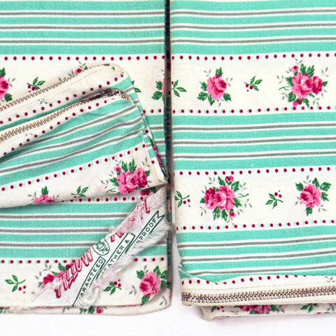 RARE Vintage 1940s NOS Set of Two Floral Pattern Stripe Zippered