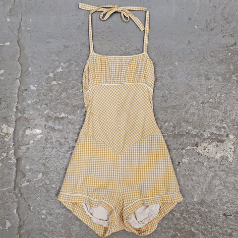 RARE Vintage 1950s 1960s  Gingham Plaid Tie Halter Neck One Piece Swimsuit