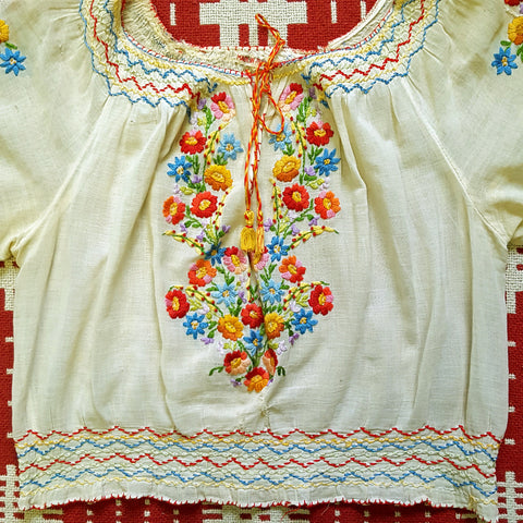 RARE Vintage 1950s NOS Hand Embroidered Ethnic Peasant Blouse