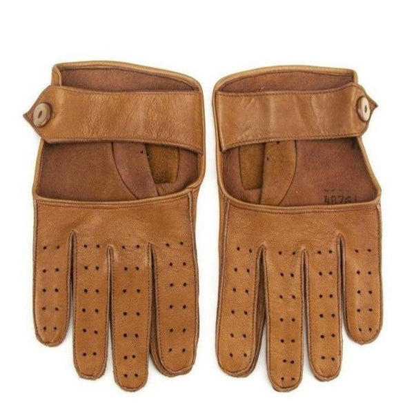 RARE Vintage 1960s Men's Belted Perforated Leather Driving Gloves