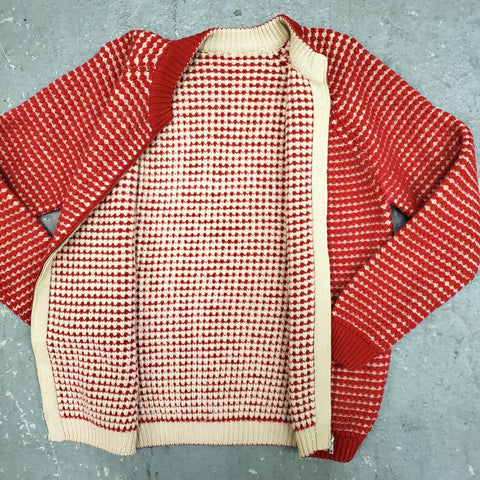 RARE Vintage 1960s Men's TOTALLY REVERSIBLE Novelty Stitch Zip Cardigan Sweater