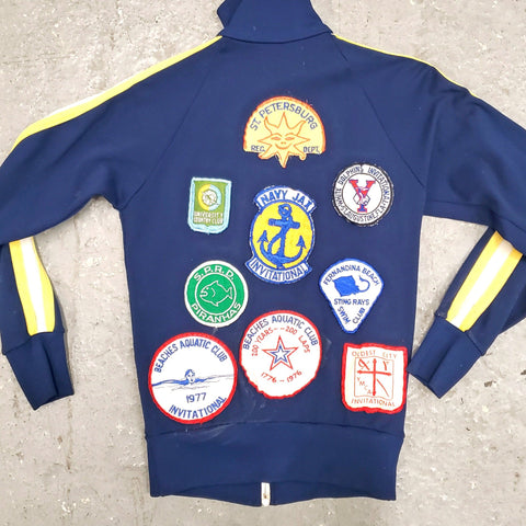 RARE Vintage 1970s Teen's Multi Patch FL Swim Team Athletic Track Jacket