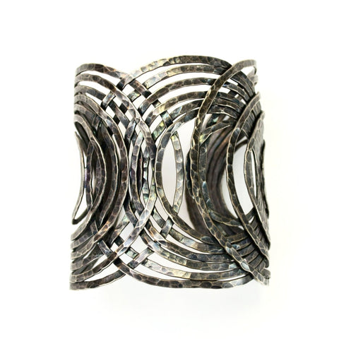 RARE Vintage 1990s Avant Garde Abstract Wide Cuff Bracelet