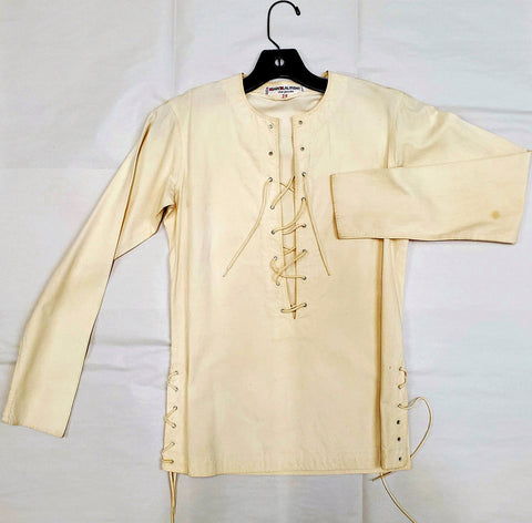 RARE Vintage Designer 1960s SAINT LAURENT Safari LS Lace Up Shirt Top