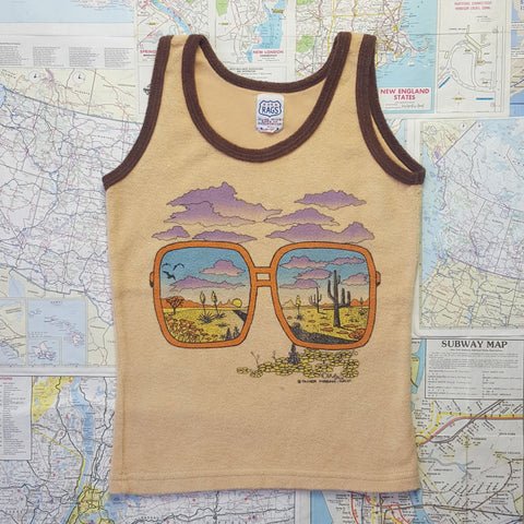 SUPER GRAPHICS! Vintage 1990s 'DESERT/GLASSES' Terry Tank T-Shirt