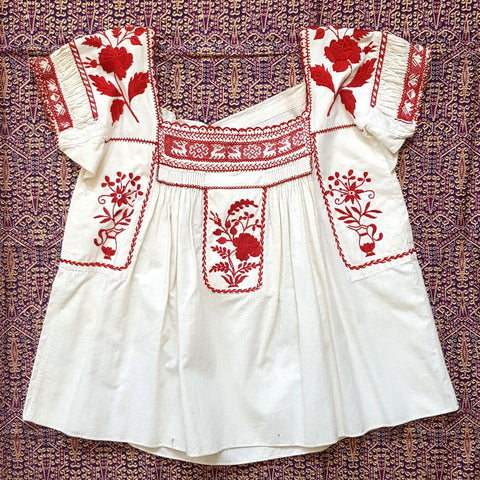 SUPER RARE Vintage 1950s NOS Hand Embroidered Smocked Ethnic Peasant Blouse