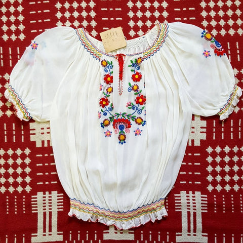 SUPER RARE Vintage 1950s NOS Hand Embroidered Ethnic Peasant Blouse