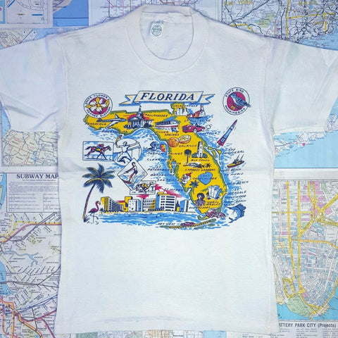 SUPER RARE! Vintage 1960s NOS 'FLORIDA STATE MAP' Souvenir Kid's Graphic T-Shirt