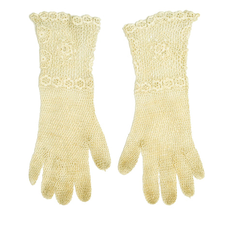 Vintage 1920s 1930s Victorian Edwardian Novelty Floral Stitch Cotton Crochet Gloves