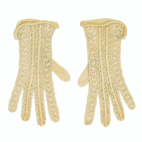 Vintage 1920s 1930s Victorian Edwardian Novelty Stitch Cotton Crochet Gloves