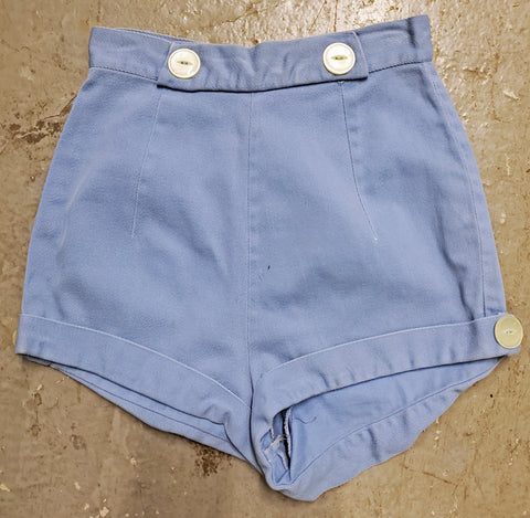 Vintage 1940s 1950s Button Detail Cuffed Short Tap Shorts