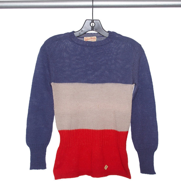 Vintage 1940s NOS Slim Color Blocked Crewneck Ski Sweater