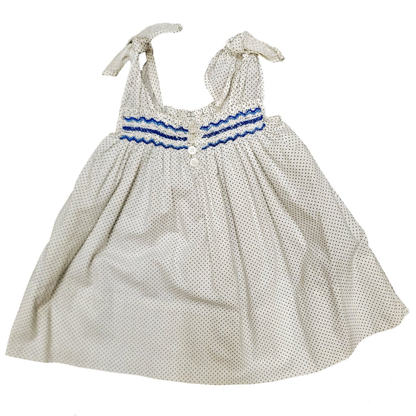 Vintage 1950s 1960s Little Girls's Pindot Tie Shoulder Smocked Sundress Dress
