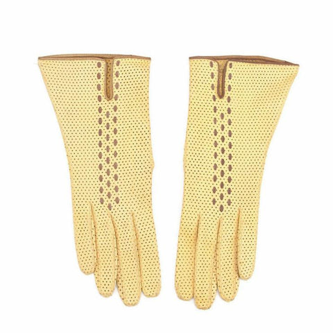 Vintage 1950s French Mini Perforated Leather Dress Gloves