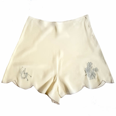 RARE Vintage 1950s NOS 'Good Luck' Tap Pant w/Four Leaf Clover Horseshoe Embroidery