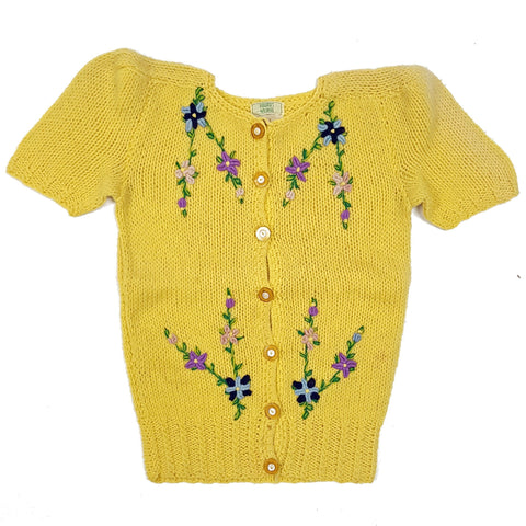 Vintage 1950s Puff SS Floral Embroidery Detail Cardigan Sweater