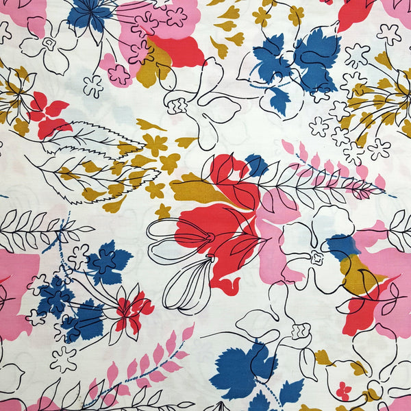 Vintage 1960s Abstract Floral Cotton Fabric Yardage (2 1/2 Yards)
