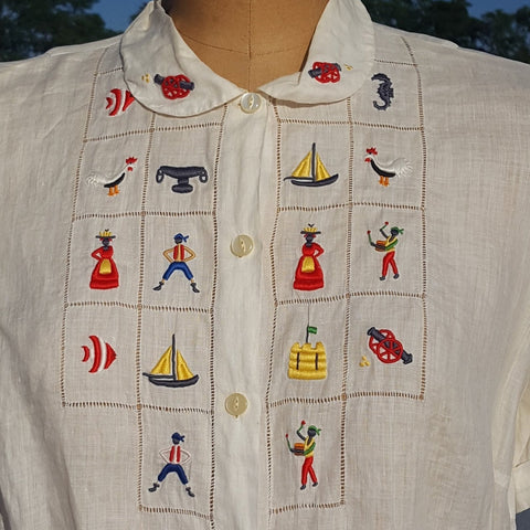 Vintage 1960s Handmade Ethnic Embroidered Conversational Button Front Shirt