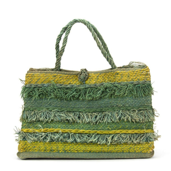 Vintage 1960s Novelty Self Fringed Stripe Woven Cotton Raffia Hand Tote Bag