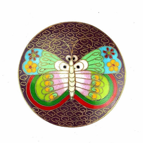 Vintage 1970s Cloisonne Asian Butterfly Motif Gilt Enamel Round Belt Buckle
