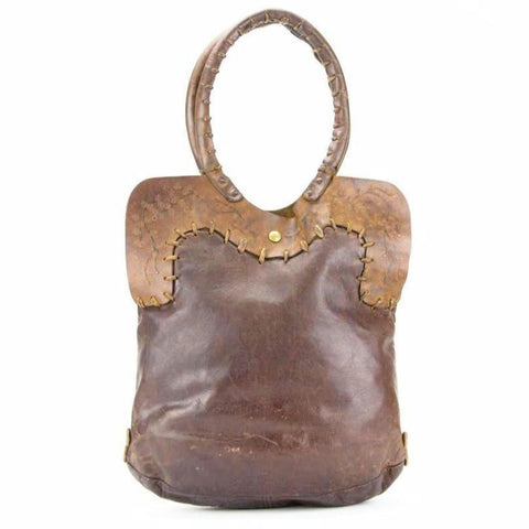Vintage 1970s Handmade Hippie Novelty Overstitched Tote Shoulder Bag