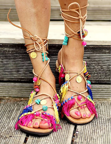 Fringed Grecian Sandals