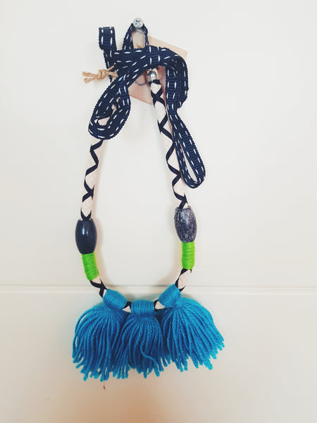 Tassled Necklace - Blue